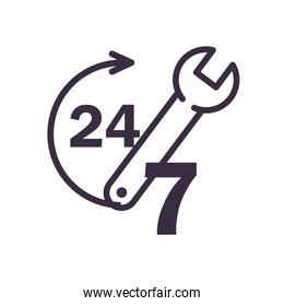 24 7 with arrow and wrench line style icon vector design