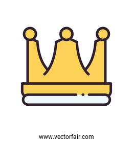 royal crown line and fill style icon vector design