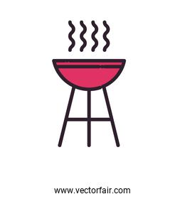 bbq grill line and fill style icon vector design