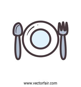 plate with spoon and fork line and fill style icon vector design