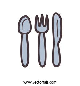 Cutlery line and fill style icon vector design