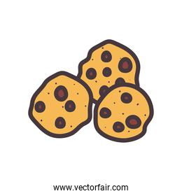 sweet cookies line and fill style icon vector design