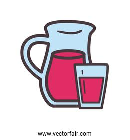 juice jar and glass line and fill style icon vector design