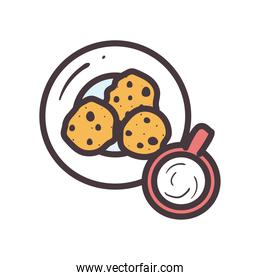 sweet cookies with milk mug line and fill style icon vector design