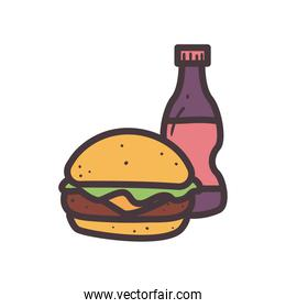 hamburger with soda bottle line and fill style icon vector design