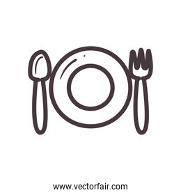 plate with spoon and fork line style icon vector design
