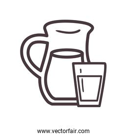 juice jar and glass line style icon vector design