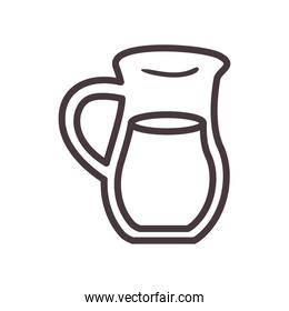 milk jar line style icon vector design