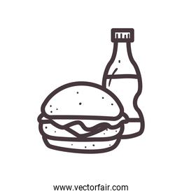 hamburger with soda bottle line style icon vector design
