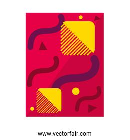 red abstract background with geometric shapes, colorful design