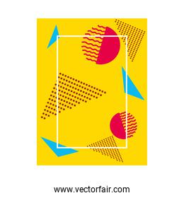 yellow background with geometric shapes and dots, colorful design