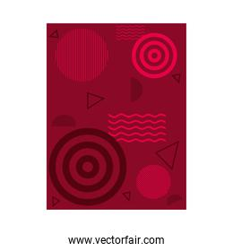 red background with circular and abstract shapes, colorful design