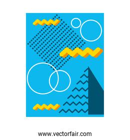 blue abstract background with white circles and geometric shapes, colorful design