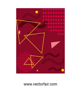 red background with yellow triangles, colorful design