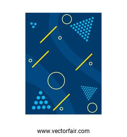 blue background with geometric shapes and yellow lines, colorful design