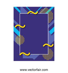 purple frame with abstract shapes, colorful design