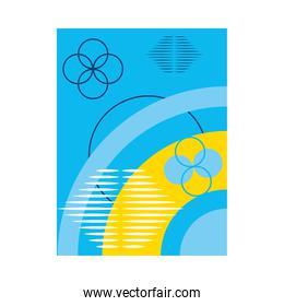 abstract blue background with circular shapes, colorful design