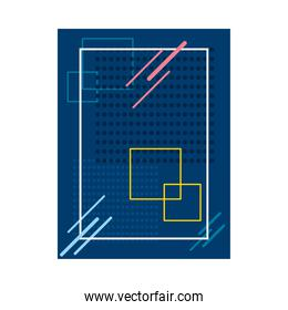 blue background with squared shapes, colorful design