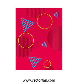red background with tirangular and circular shapes, colorful design