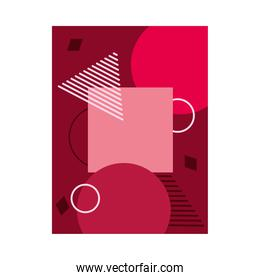 red background with geometric shapes, colorful design