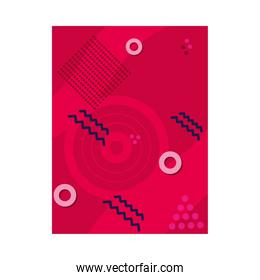 red background with abstract shapes, colorful design
