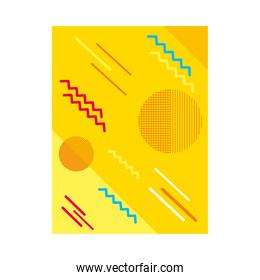 abstract yellow background with geometric shapes, colorful design