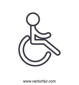 wheelchair parking road sign line style icon vector design