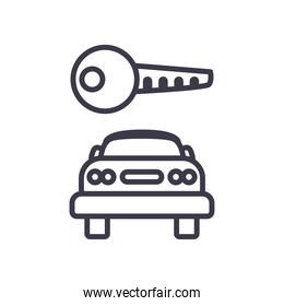 key over car front side line style icon vector design