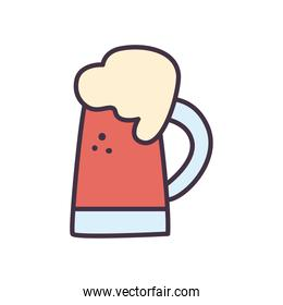 beer glass with foam line and fill style icon vector design