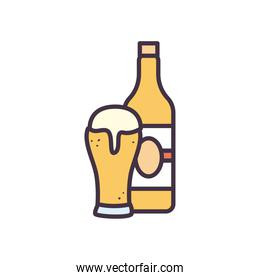 beer glass and bottle line and fill style icon vector design