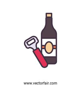 beer bottle and opener line and fill style icon vector design