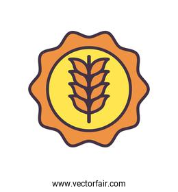 wheat ear in seal stamp line and fill style icon vector design