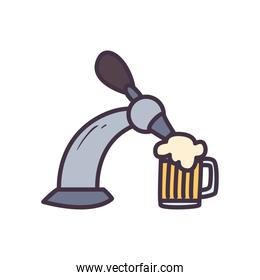 beer tap with glass line and fill style icon vector design