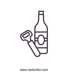 beer bottle and opener line style icon vector design