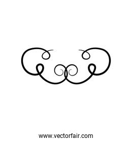icon of divider with curly shapes, silhouette style