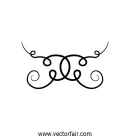 vintage ornament divider icon, silhouette style