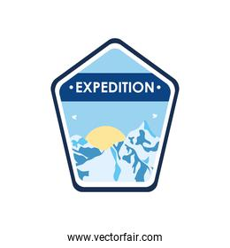 expedition insignia badge with snowy mountains and sun, flat style