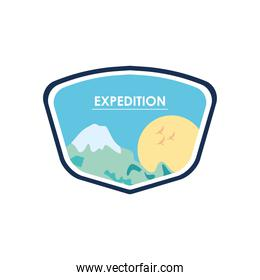 expedition insignia with mountain and sun icon, flat style