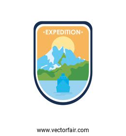 expedition shield badge with mountains landscape design, flat style