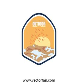 outdoor insignia badge with dry mountains and sun, flat style