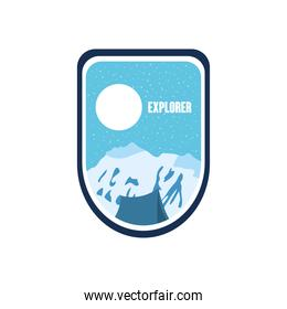 explorer badge insignia with snowy mountains and moon, flat style