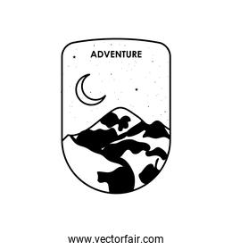 adventure insignia badge with snow mountain and half moon, silhouette style