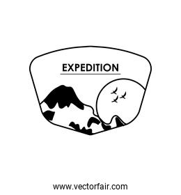 expedition insignia with mountain and sun icon, silhouette style