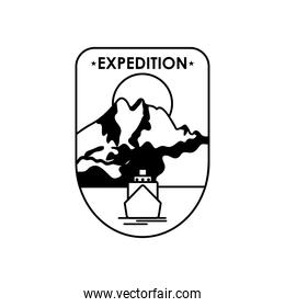 expedition shield badge with mountains landscape design, silhouette style