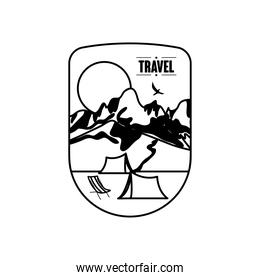 explorer badge insignia with snowy mountains and moon, silhouette style