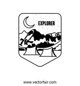 shield badge with camping tents and snoe mountains, silhouette style