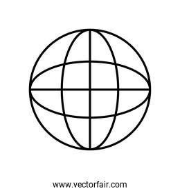 global sphere icon, line style