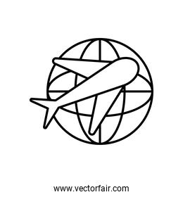 airplane and global sphere icon, line style
