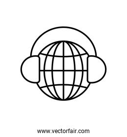 global sphere with headphones icon, line style