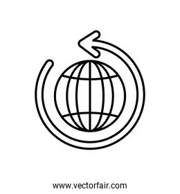 circle arrow and global sphere icon, line style
